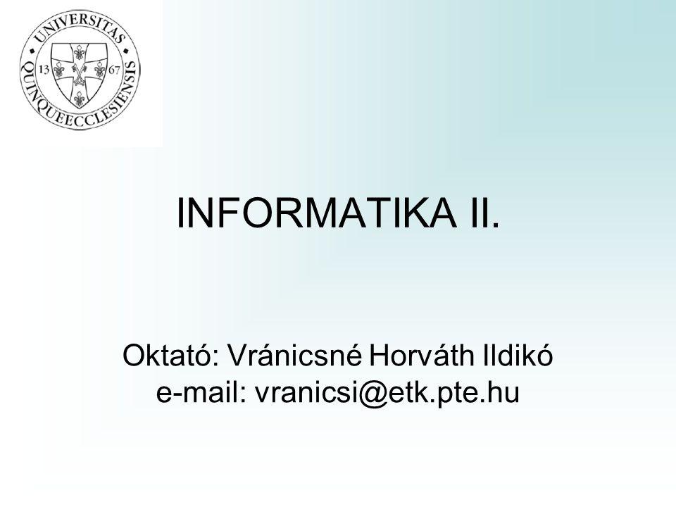 Oktató: Vránicsné Horváth Ildikó e-mail: vranicsi@etk.pte.hu
