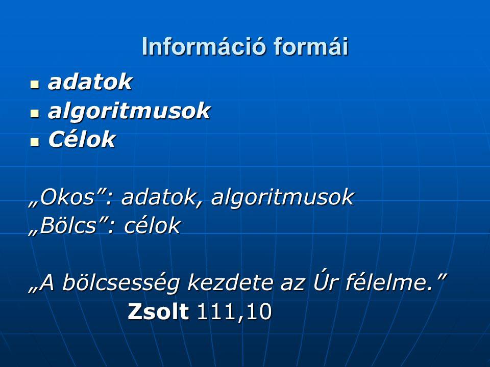 Információ formái adatok algoritmusok Célok