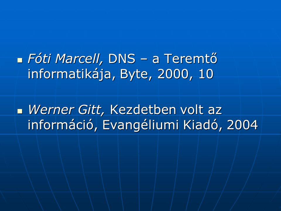 Fóti Marcell, DNS – a Teremtő informatikája, Byte, 2000, 10