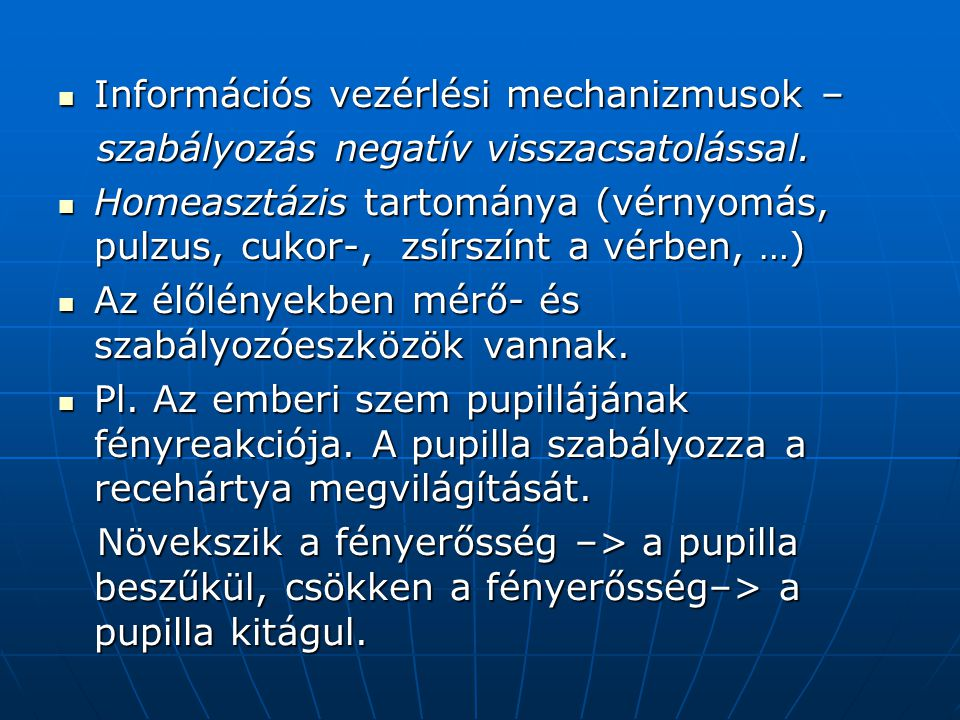 Információs vezérlési mechanizmusok –