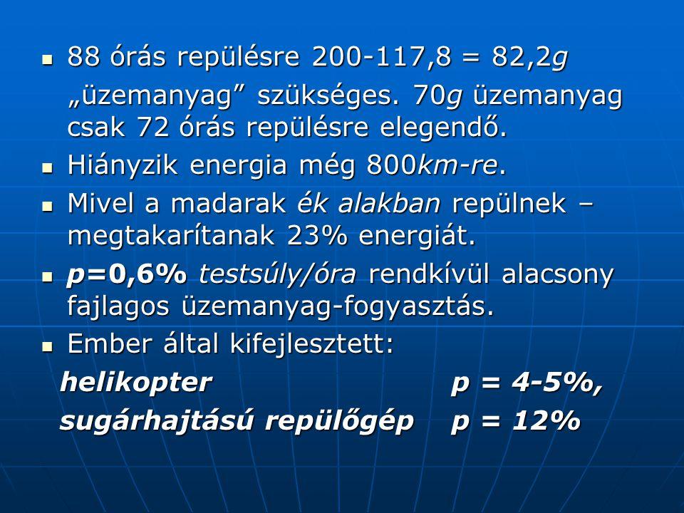 """88 órás repülésre 200-117,8 = 82,2g """"üzemanyag szükséges. 70g üzemanyag csak 72 órás repülésre elegendő."""