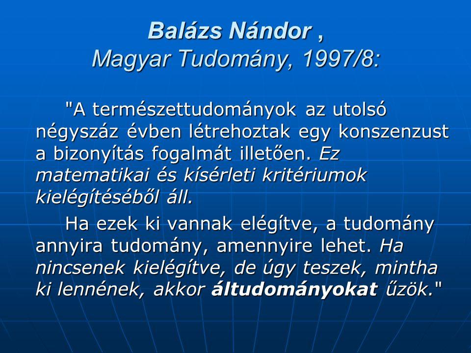 Balázs Nándor , Magyar Tudomány, 1997/8: