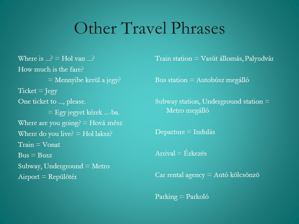 Other Travel Phrases