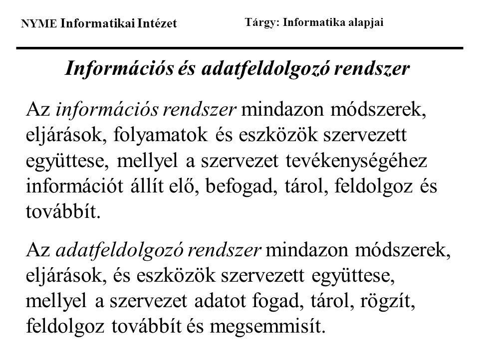 Információs és adatfeldolgozó rendszer
