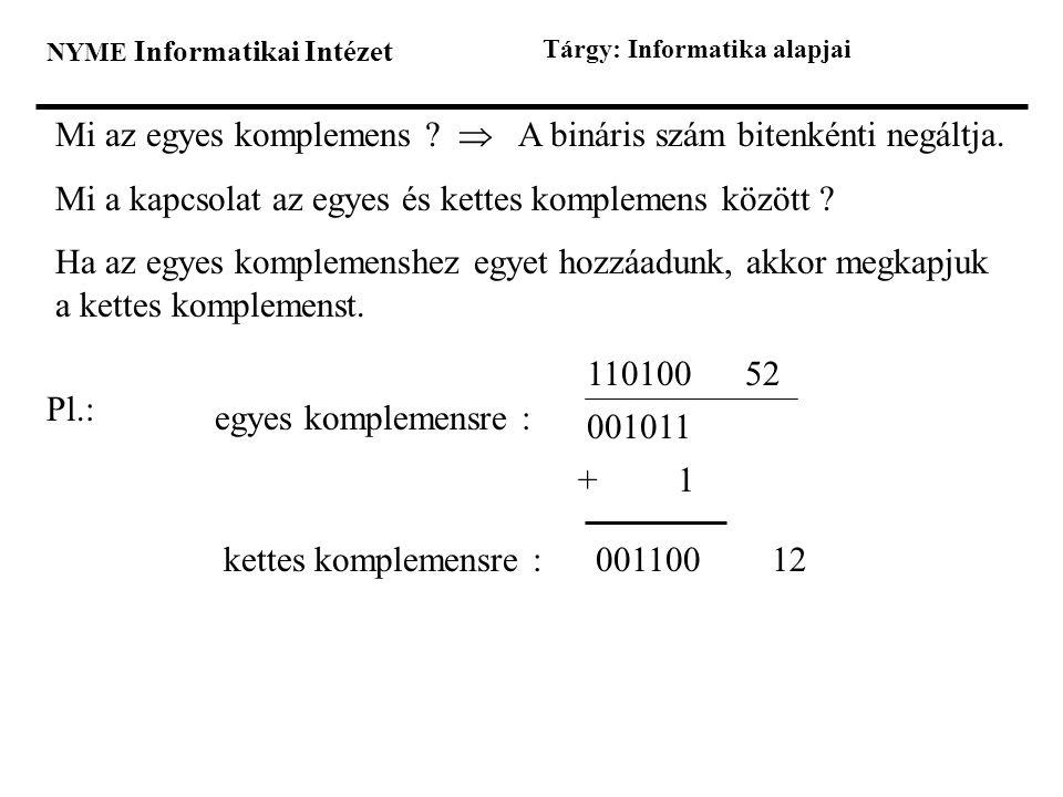 Mi az egyes komplemens  A bináris szám bitenkénti negáltja.