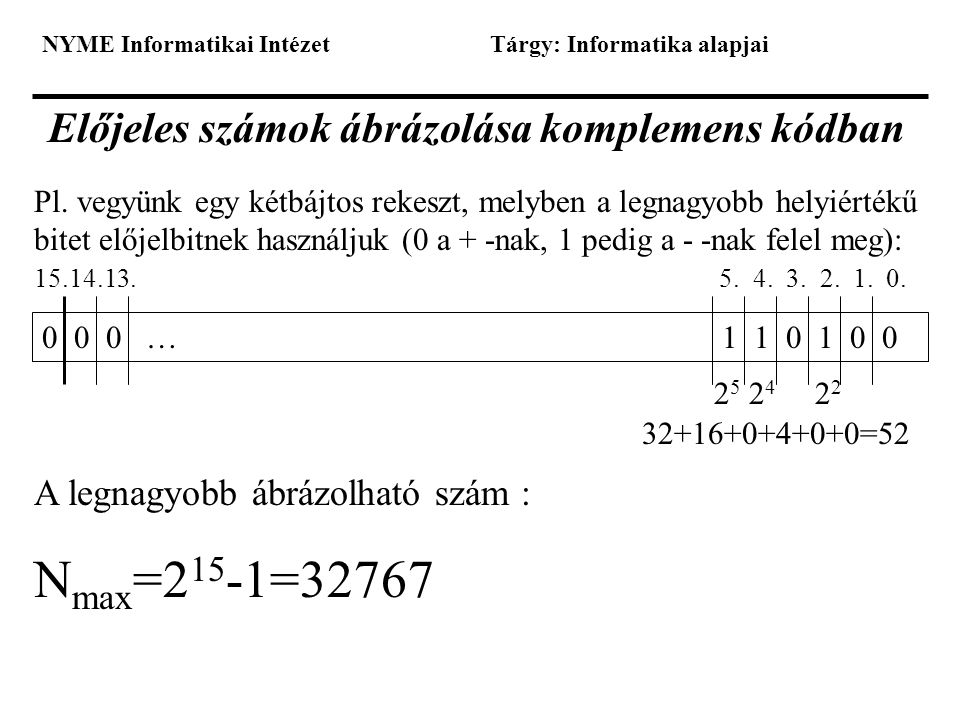 Előjeles számok ábrázolása komplemens kódban