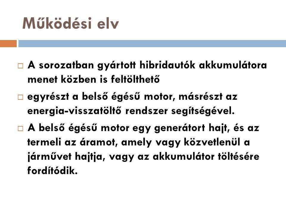 Működési elv A sorozatban gyártott hibridautók akkumulátora menet közben is feltölthető.
