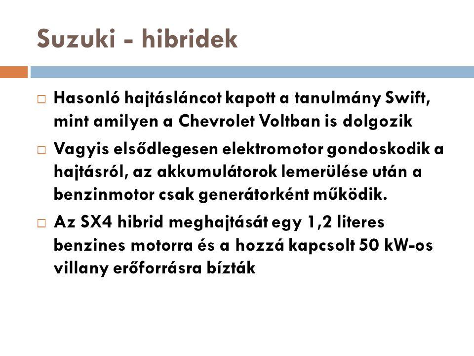Suzuki - hibridek Hasonló hajtásláncot kapott a tanulmány Swift, mint amilyen a Chevrolet Voltban is dolgozik.