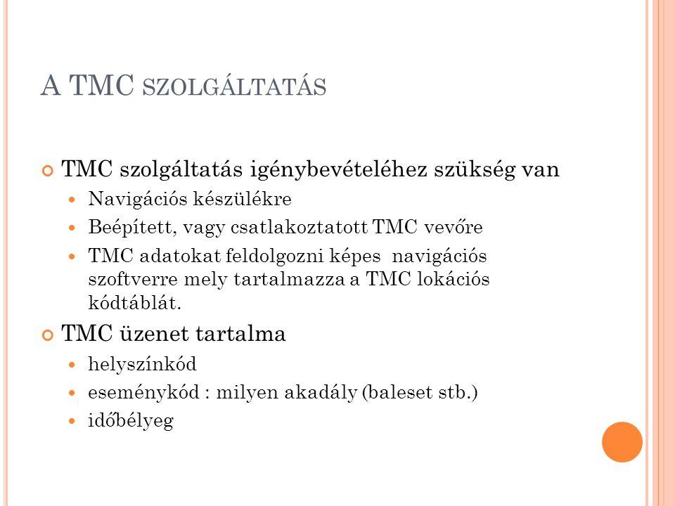 A TMC szolgáltatás TMC szolgáltatás igénybevételéhez szükség van