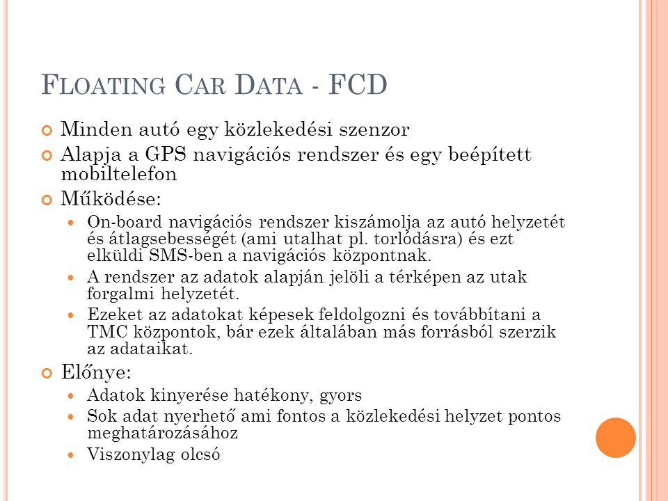 Floating Car Data - FCD Minden autó egy közlekedési szenzor
