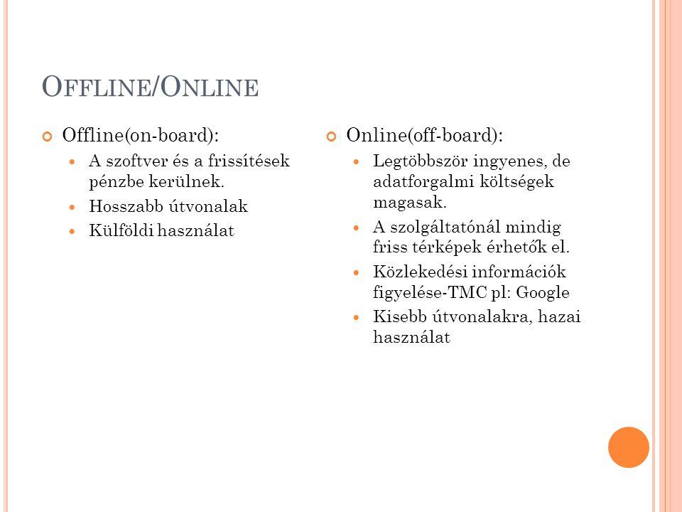 Offline/Online Offline(on-board): Online(off-board):