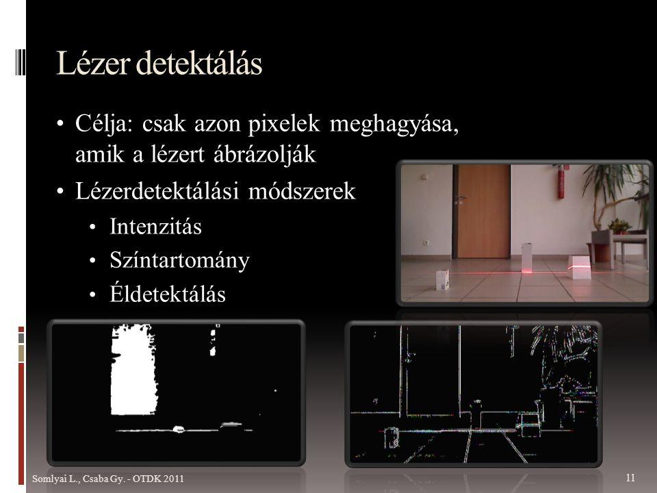 Lézer detektálás Célja: csak azon pixelek meghagyása, amik a lézert ábrázolják. Lézerdetektálási módszerek.