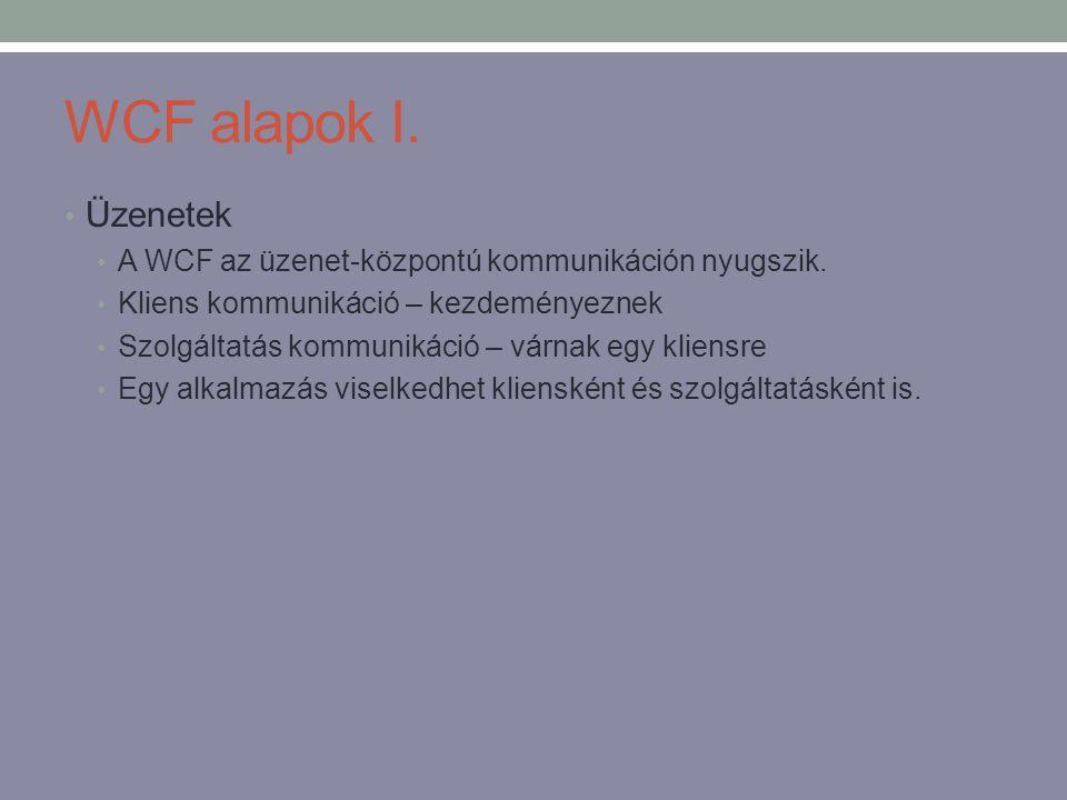 WCF alapok I. Üzenetek. A WCF az üzenet-központú kommunikáción nyugszik. Kliens kommunikáció – kezdeményeznek.