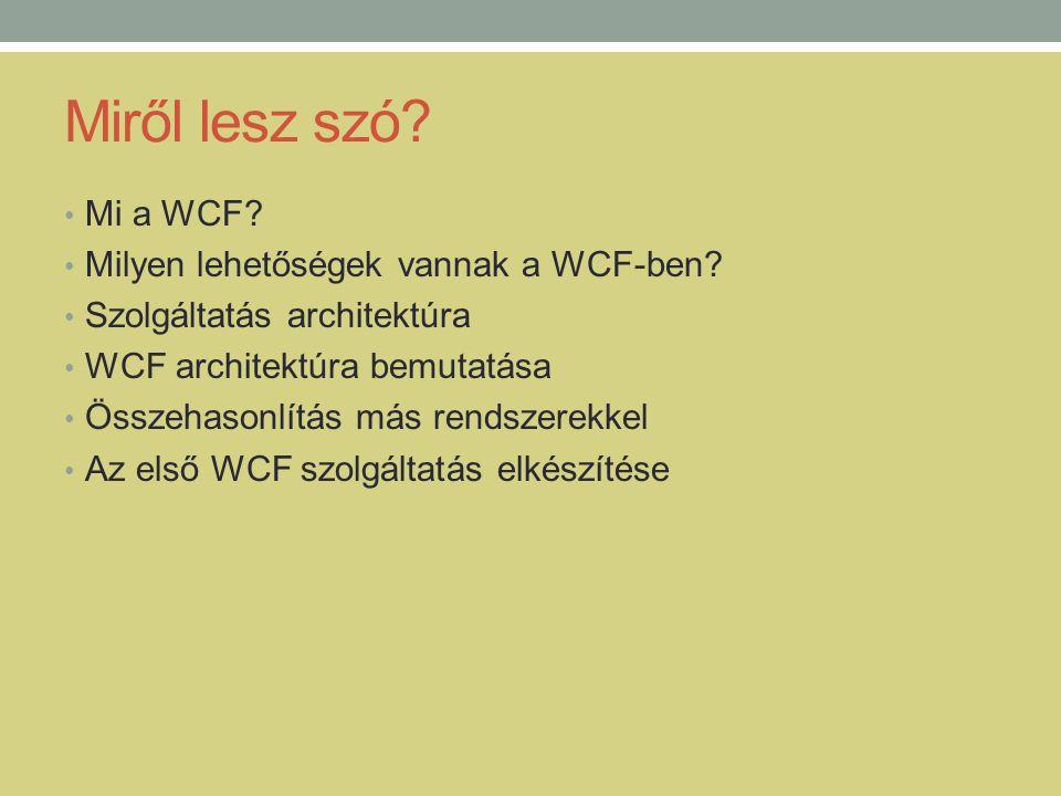 Miről lesz szó Mi a WCF Milyen lehetőségek vannak a WCF-ben