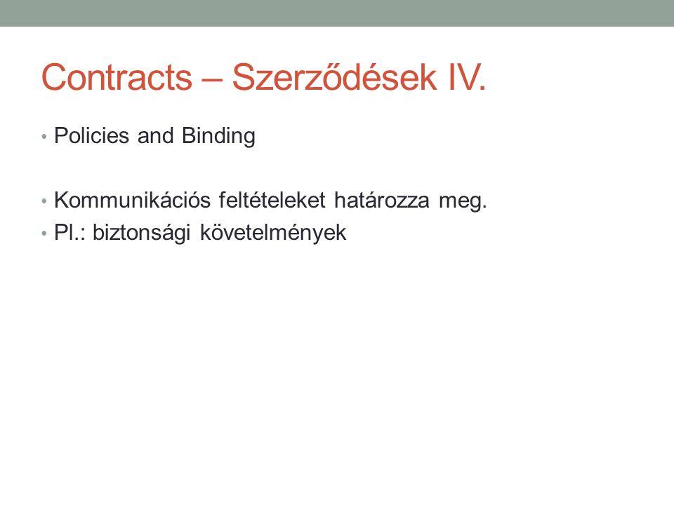 Contracts – Szerződések IV.
