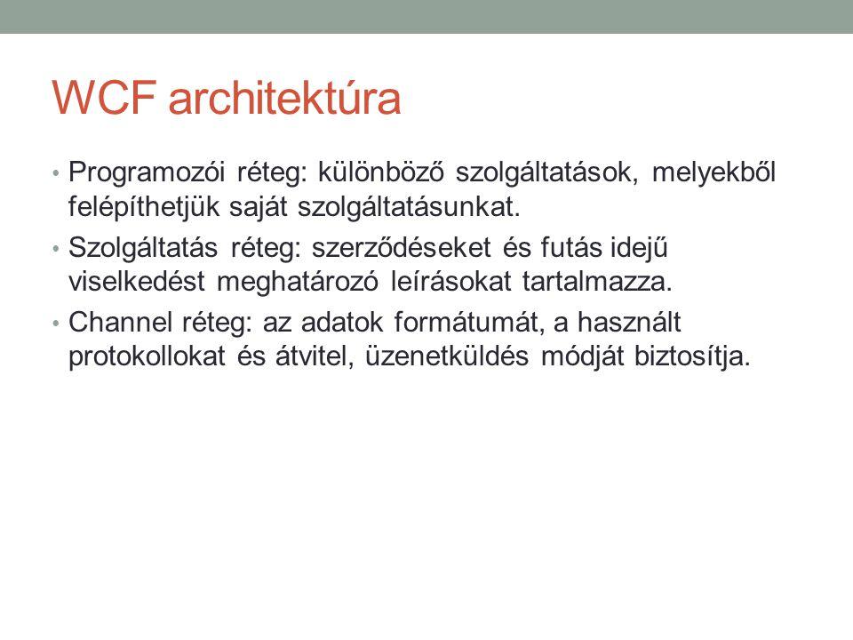 WCF architektúra Programozói réteg: különböző szolgáltatások, melyekből felépíthetjük saját szolgáltatásunkat.