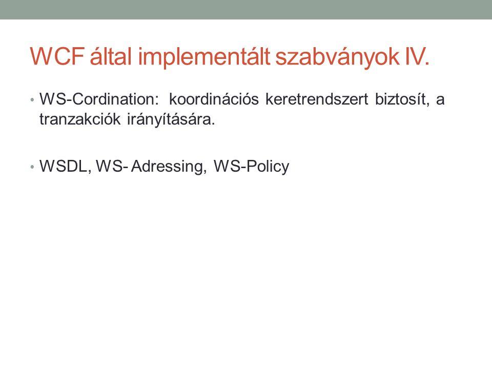 WCF által implementált szabványok IV.