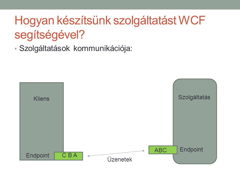 Hogyan készítsünk szolgáltatást WCF segítségével