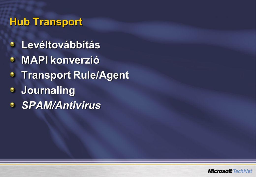 Hub Transport Levéltovábbítás MAPI konverzió Transport Rule/Agent