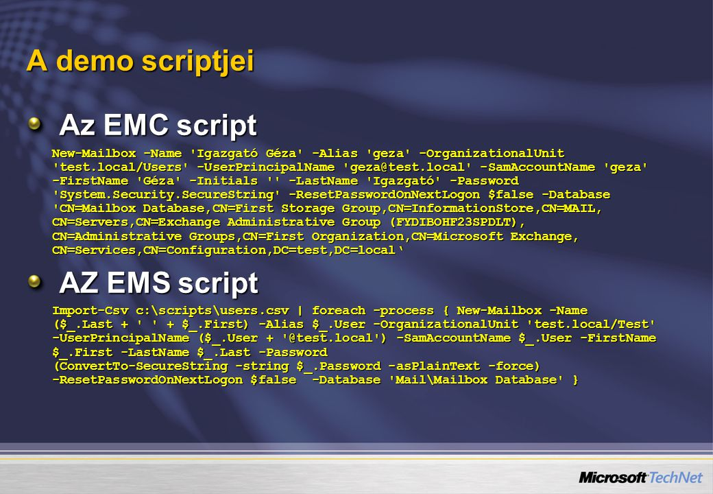 A demo scriptjei Az EMC script AZ EMS script