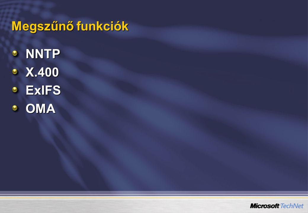 Megszűnő funkciók NNTP X.400 ExIFS OMA