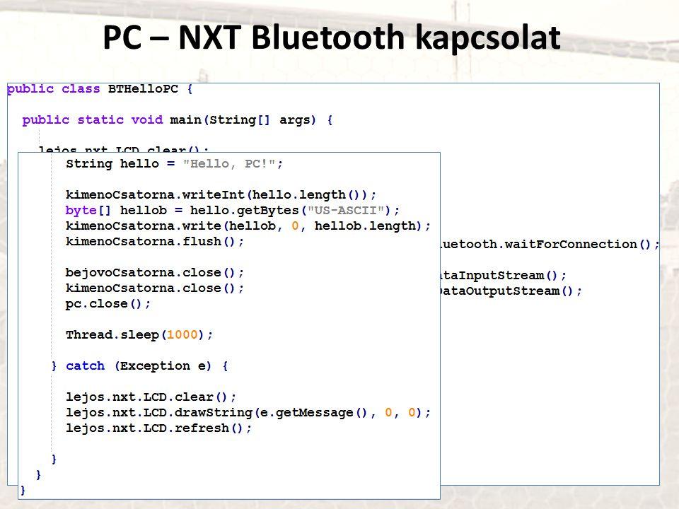 PC – NXT Bluetooth kapcsolat