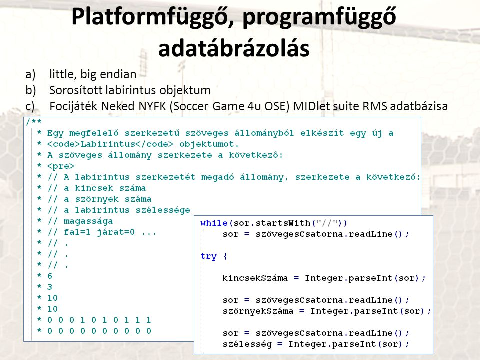 Platformfüggő, programfüggő adatábrázolás