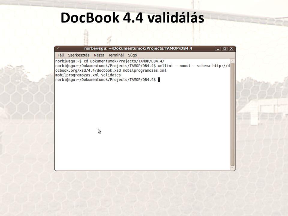 DocBook 4.4 validálás