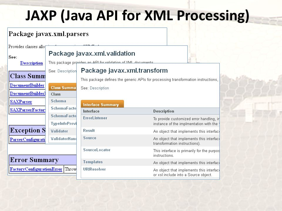 JAXP (Java API for XML Processing)