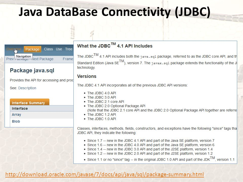Java DataBase Connectivity (JDBC)