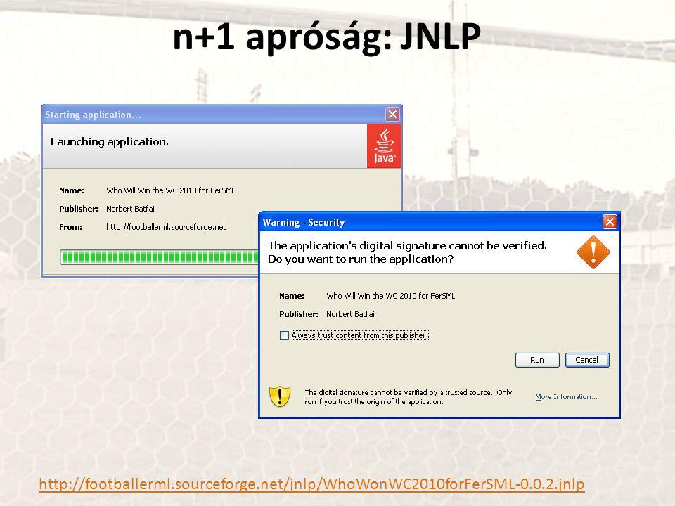 n+1 apróság: JNLP http://footballerml.sourceforge.net/jnlp/WhoWonWC2010forFerSML-0.0.2.jnlp