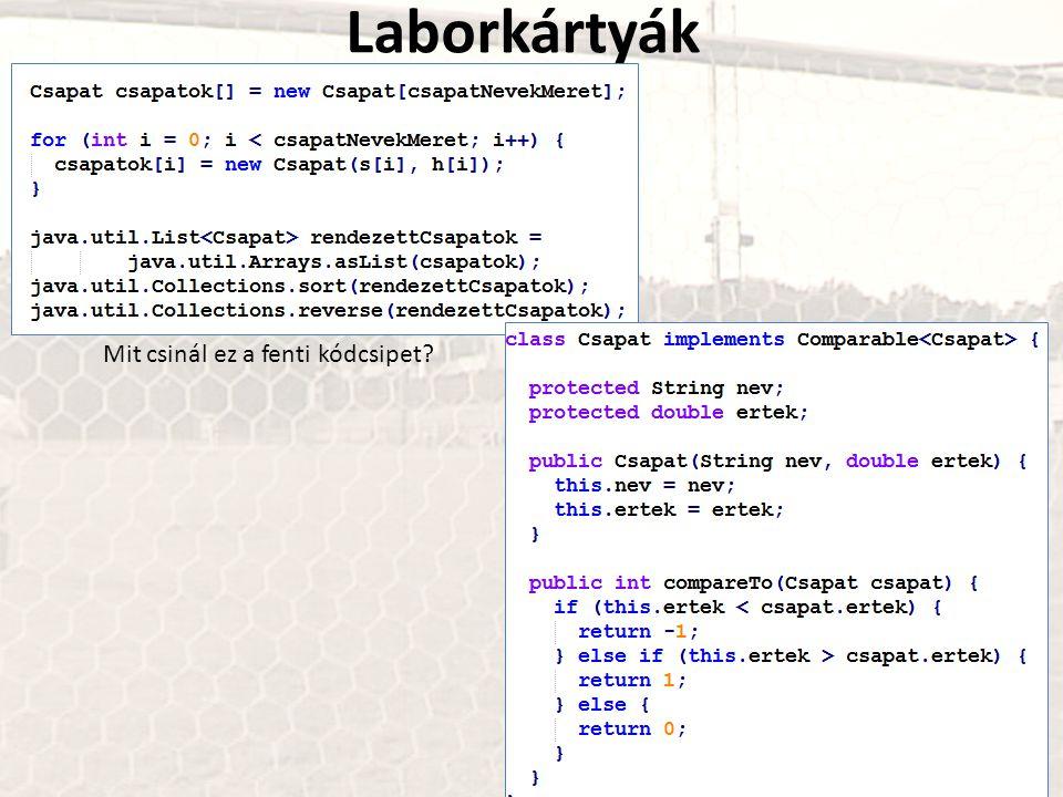 Laborkártyák Mit csinál ez a fenti kódcsipet