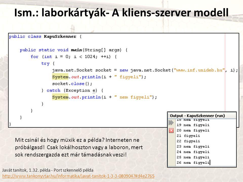 Ism.: laborkártyák- A kliens-szerver modell
