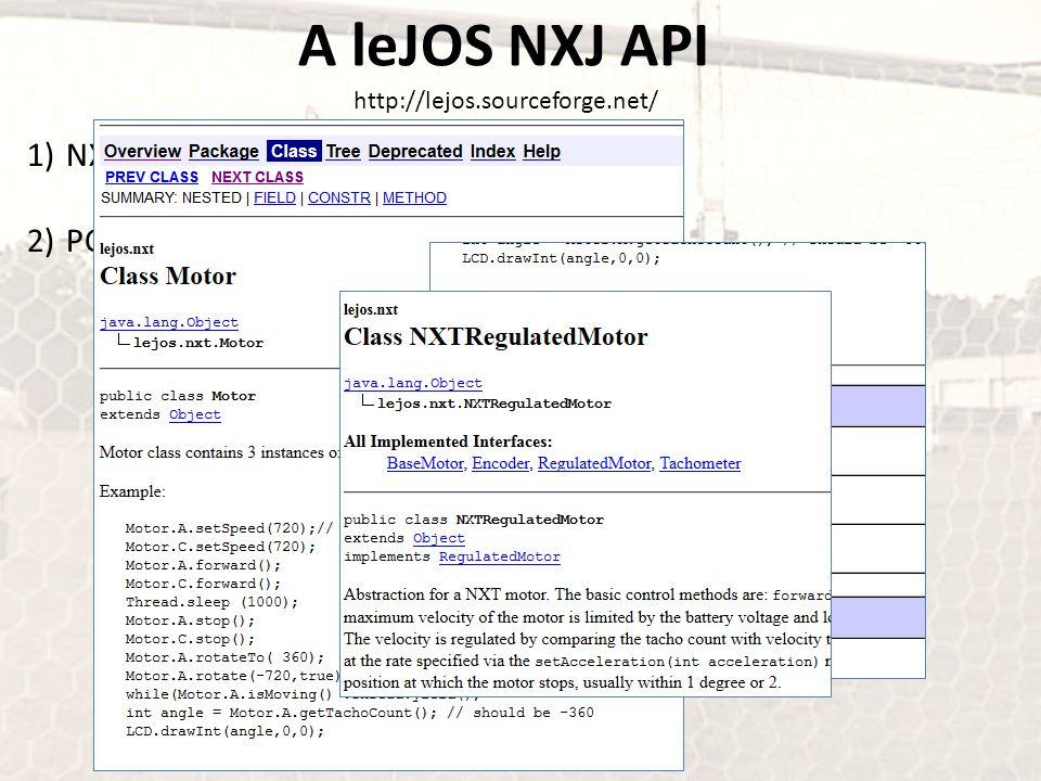 A leJOS NXJ API http://lejos.sourceforge.net/ NXJ API PC API