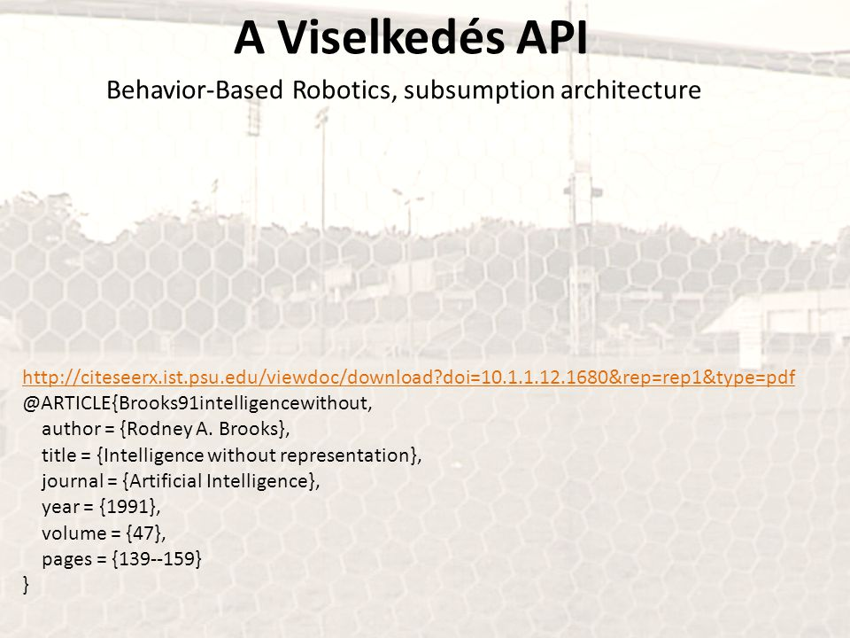 A Viselkedés API Behavior-Based Robotics, subsumption architecture