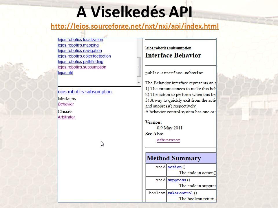 A Viselkedés API http://lejos.sourceforge.net/nxt/nxj/api/index.html