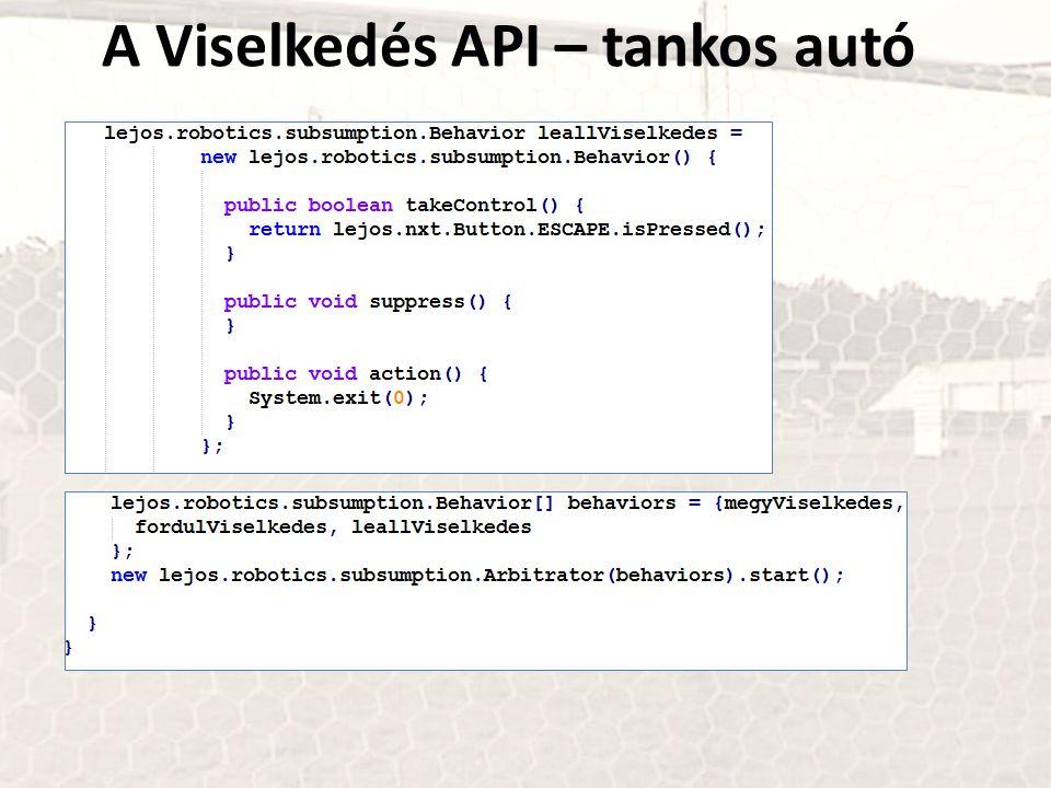 A Viselkedés API – tankos autó