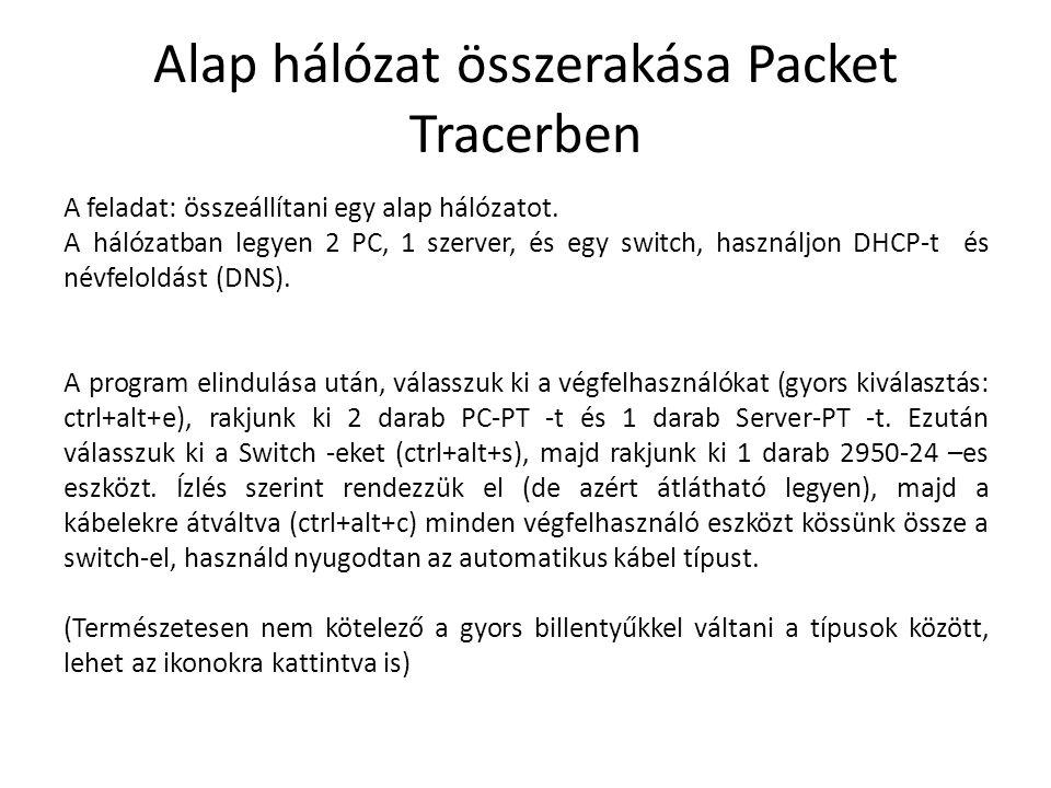 Alap hálózat összerakása Packet Tracerben