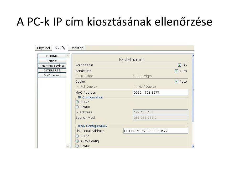 A PC-k IP cím kiosztásának ellenőrzése