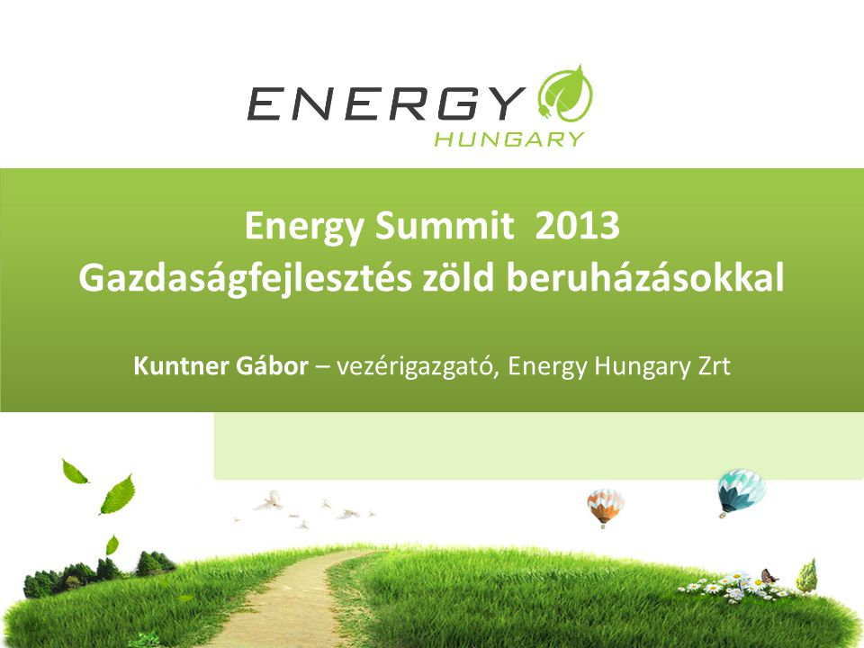 Energy Summit 2013 Gazdaságfejlesztés zöld beruházásokkal Kuntner Gábor – vezérigazgató, Energy Hungary Zrt