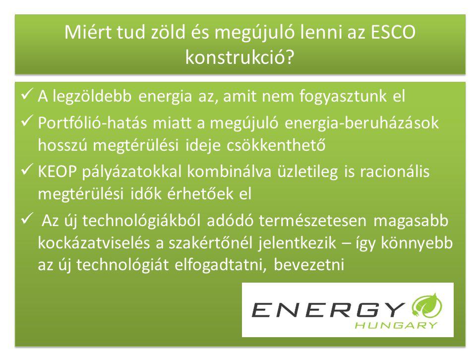Miért tud zöld és megújuló lenni az ESCO konstrukció