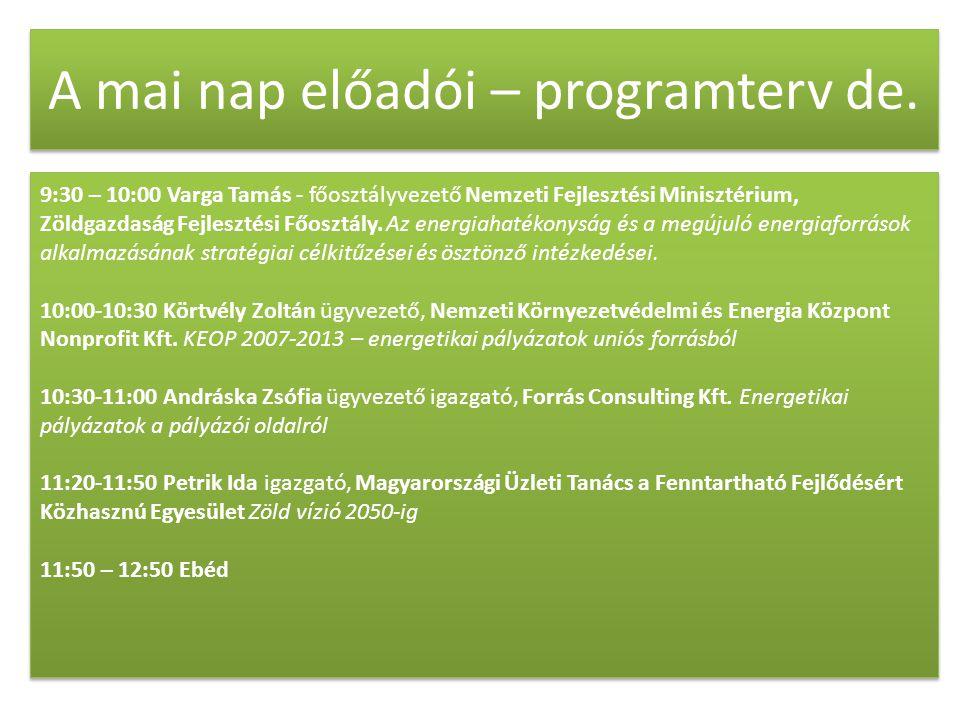 A mai nap előadói – programterv de.