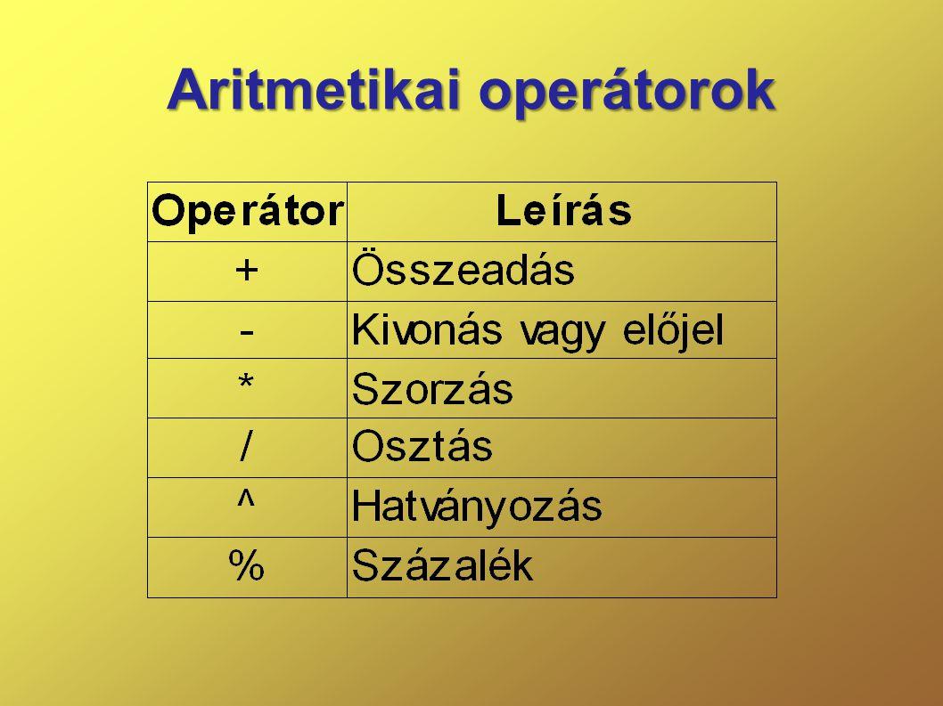 Aritmetikai operátorok