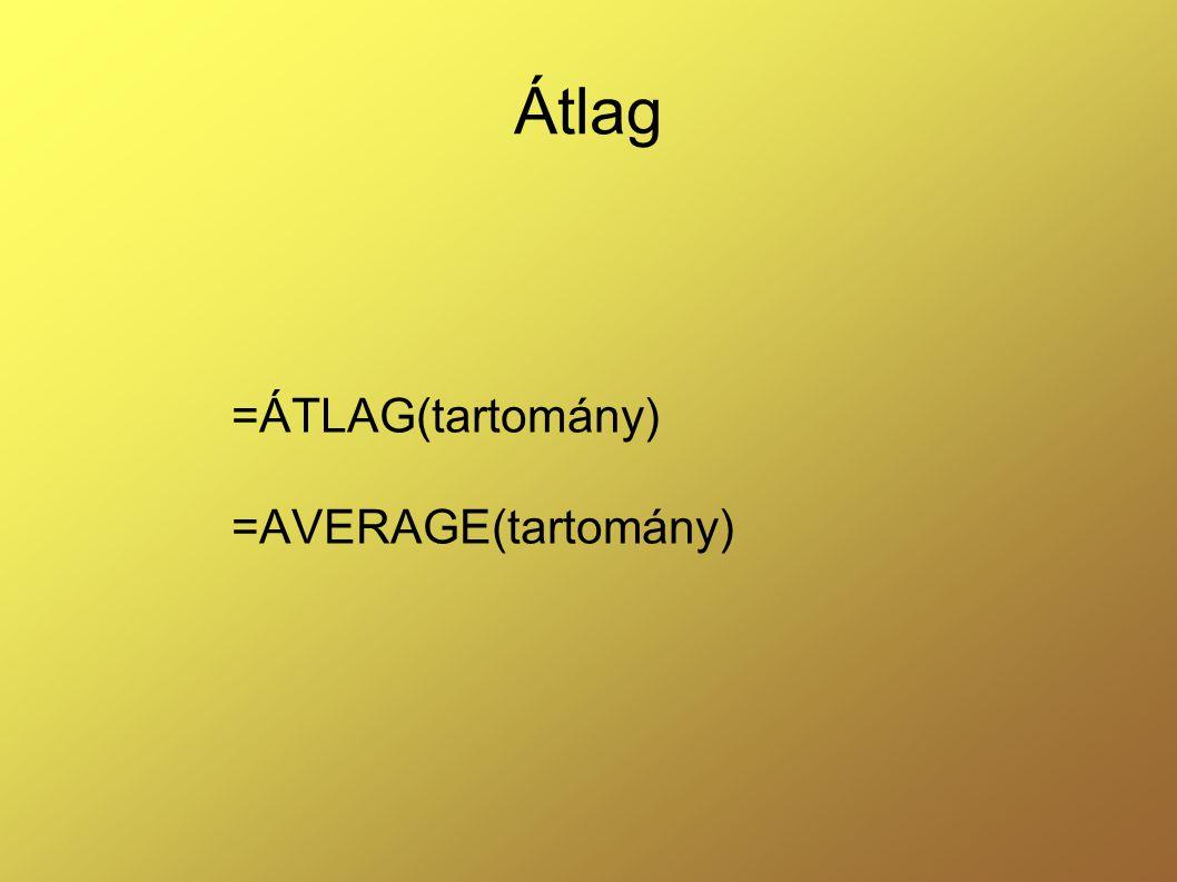 =ÁTLAG(tartomány) =AVERAGE(tartomány)