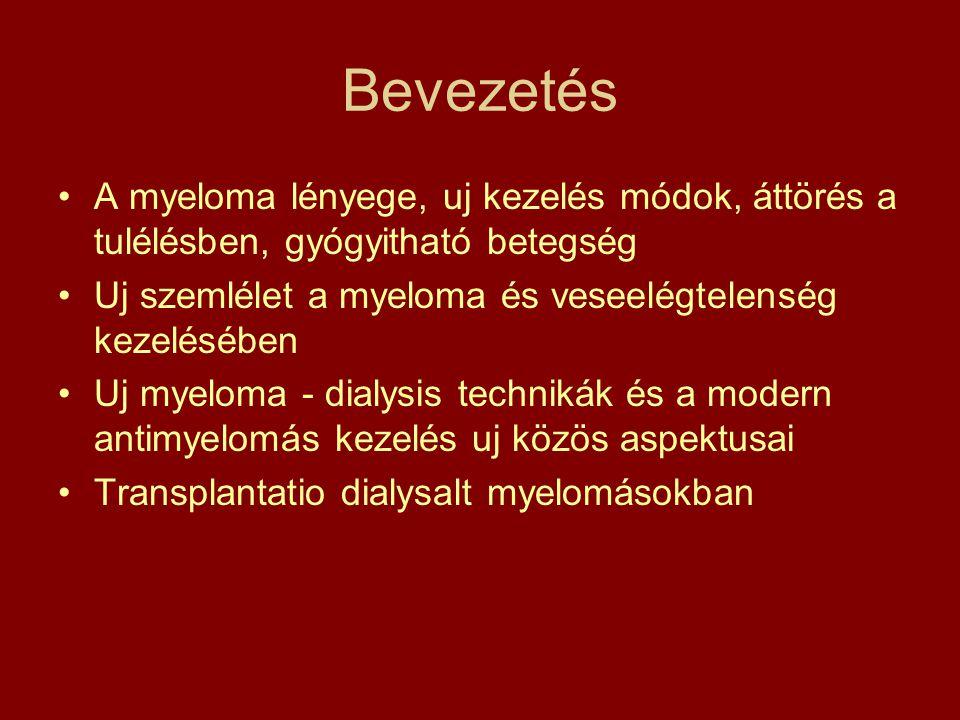 Bevezetés A myeloma lényege, uj kezelés módok, áttörés a tulélésben, gyógyitható betegség. Uj szemlélet a myeloma és veseelégtelenség kezelésében.