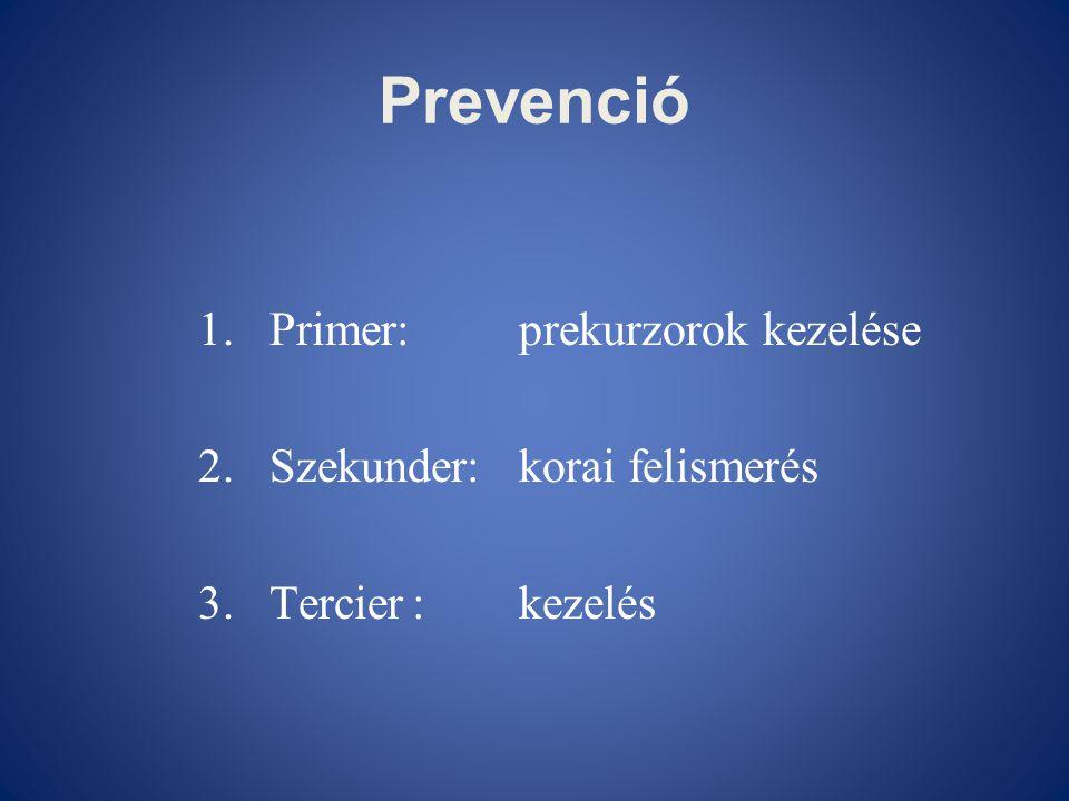 Prevenció Primer: prekurzorok kezelése Szekunder: korai felismerés