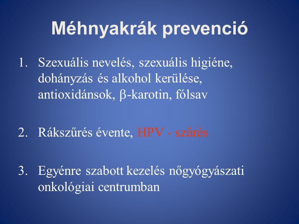 Méhnyakrák prevenció Szexuális nevelés, szexuális higiéne, dohányzás és alkohol kerülése, antioxidánsok, -karotin, fólsav.