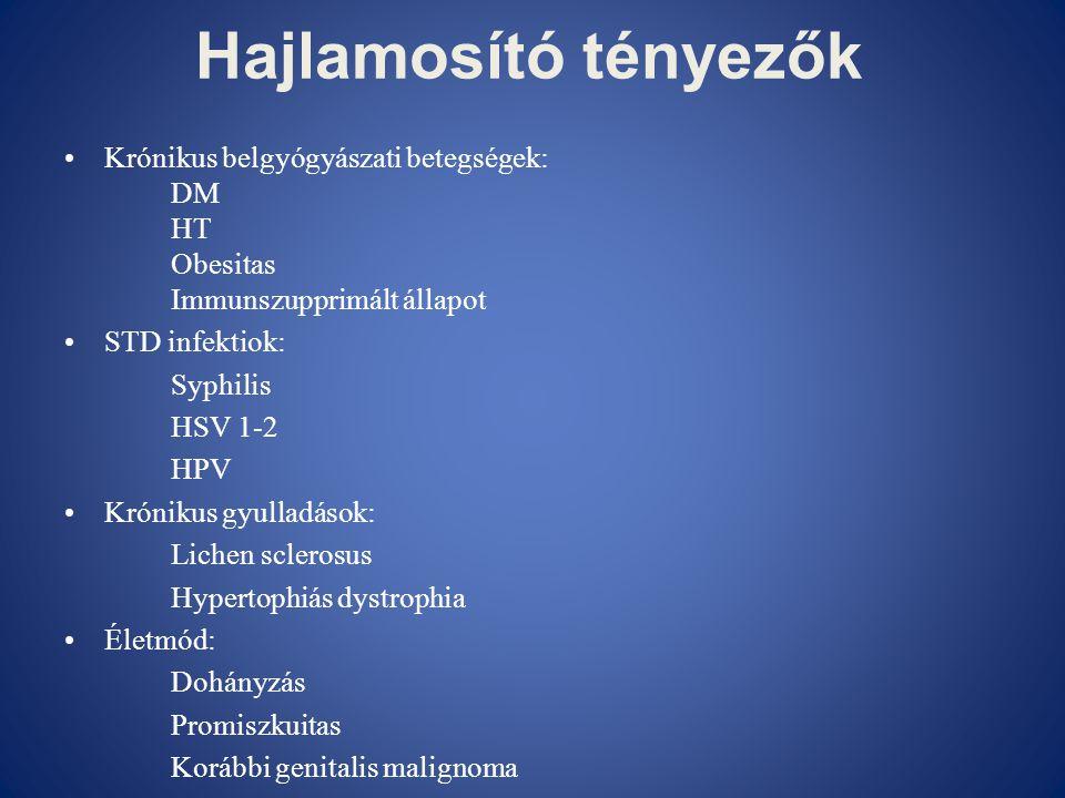 Hajlamosító tényezők Krónikus belgyógyászati betegségek: DM HT
