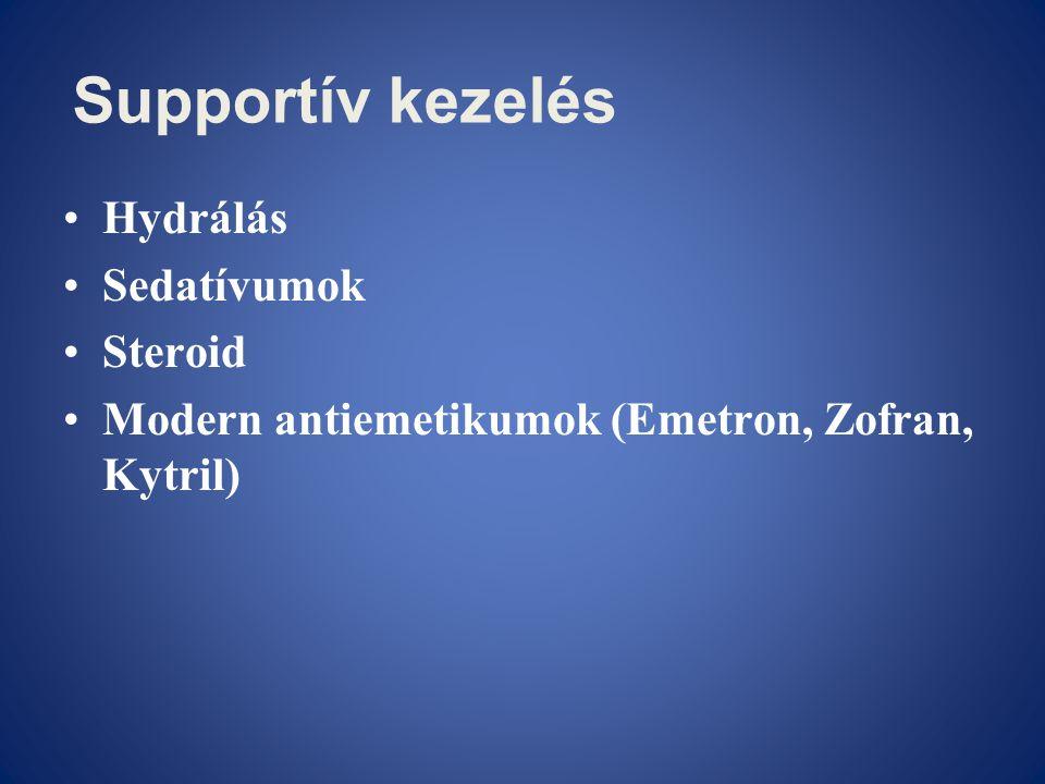 Supportív kezelés Hydrálás Sedatívumok Steroid