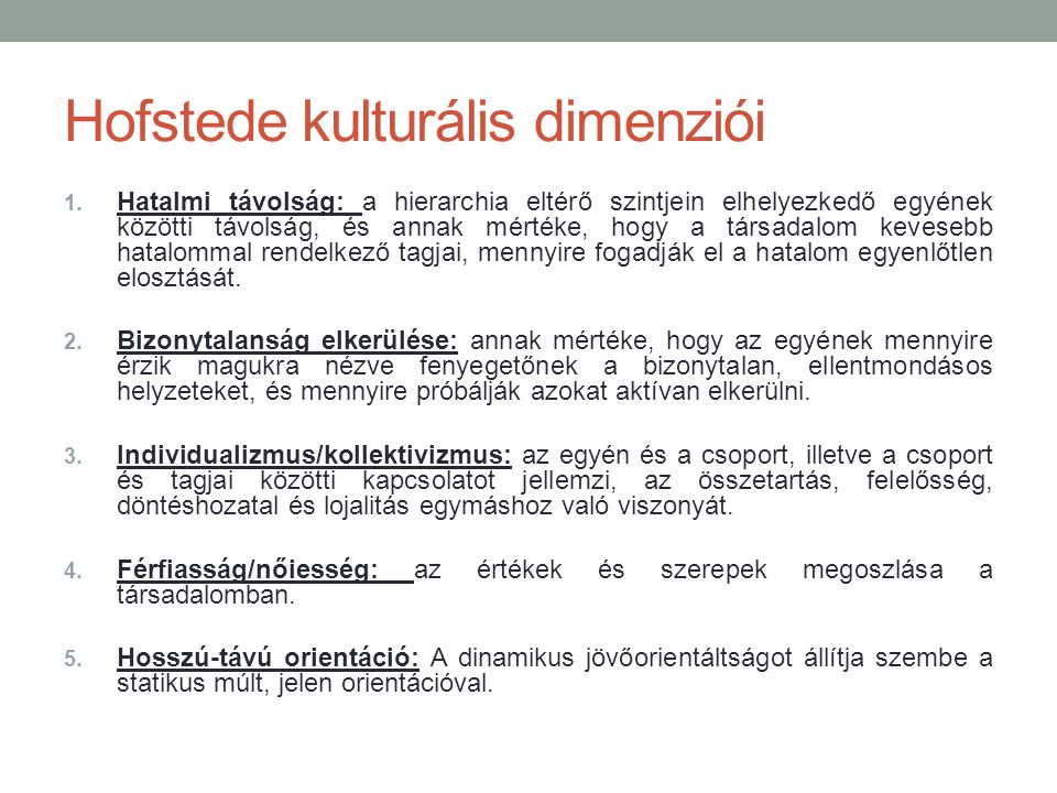 Hofstede kulturális dimenziói